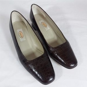 Talbots Croc Embossed 90s Power Pumps 7.5 Wide